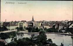 Ak Tschernjachowsk Insterburg Ostpreußen, Totalansicht der Stadt, Kirchturm