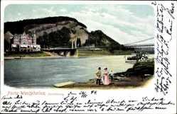 Postcard Porta Westfalica in Nordrhein Westfalen, Jacobsberg, Flusspartie, Brücke