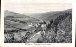 Postcard Eisenach Allgäu, Panorama auf die Ortschaft, Schwarzer Grat