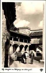 Postcard Schongau in Oberbayern, Heiliges Kreuztor mit Wehrgang, Ochsenkarren