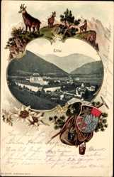 Präge Wappen Ak Ettal Oberbayern, Kloster, Knappsack