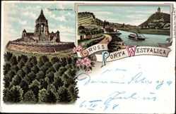 Litho Porta Westfalica in Nordrhein Westfalen, Kaiser Wilhelm Denkmal