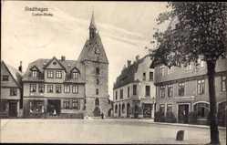 Postcard Stadthagen im Kreis Schaumburg, marktplatz, Kirchturm, Hotel Stadt London