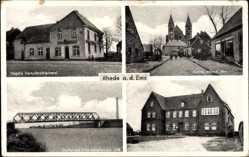 Postcard Rhede Ems im Münsterland, Nagels Dampfbrotbäckerei, Kirche, Kanalbrücke