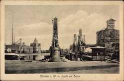 Postcard Münster in Westfalen, Partie am Hafen, Denkmal