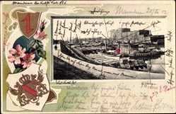 Präge Wappen Ak Mannheim, Blick zum Hafen, Boote
