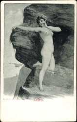 Künstler Ak Echo, Frauenakt, Nackte Frau, Felsen, Aktmalerei