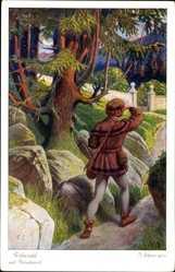 Künstler Ak Elßner, F., Rübezahl und Flötenfranzl, Nr. 3890 Serie 157