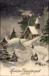 Postcard Glückwunsch Neujahr, Kirche in der Nacht, Schnee, Winter