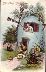 Postcard Glückwunsch Ostern, Ostereierhaus, Windrad, Küken