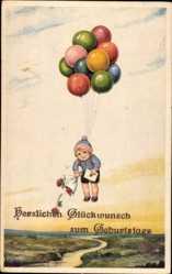 Künstler Ak Glückwunsch Geburtstag, Kind an Luftballons schwebend, Brief