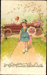 Postcard Glückwunsch Geburtstag, Mädchen kommt mit Blumenstrauß, Auto, Amag 2667