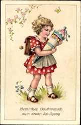 Postcard Glückwunsch Einschulung, Mädchen mit Zuckertüte, Schmetterling