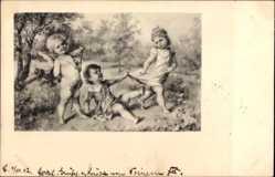 Künstler Ak Liebesengel, Liebespaar im Streit, Theo Stroefer 5641
