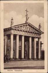 Postcard Vilnius Wilna Litauen, Kathedrale, Blick auf die Kirche, Säulen, Statuen