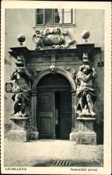 Postcard Ljubljana Laibach Slowenien, Semeniski portal, Portal Theologische Fakultät