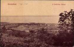 Postcard Balatonfüred Ungarn, A fürdötelep latkepe, Felder, See, Balaton, Häuser