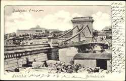 Postcard Budapest Ungarn, Blick auf die Kettenbrücke, Lanczhid, Löwenstatue
