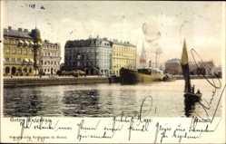 Postcard Malmö Schweden, Östra Kajgatan, Flusspartie, Dampfer, Häuser