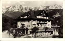 Postcard Garmisch Partenkirchen in Oberbayern, Alpenhotel Roter Hahn, Berge