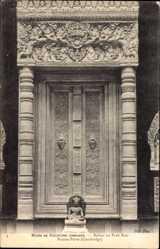 Postcard Bakou ou Prah Kou Kambodscha, Musee de Sculpture Comparee, Fausse Porte
