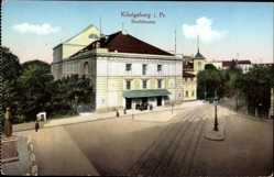 Ak Kaliningrad Königsberg Ostpreußen, Blick auf das Stadttheater, Straßenpartie