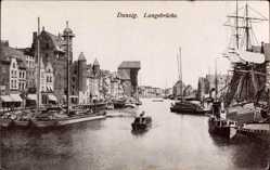 Ak Gdańsk Danzig, Flusspartie mit Langebrücke, Krantor, Segelschiff