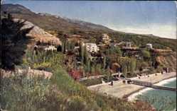 Postcard Krim Ukraine, Souk Sou, Strandpartie, Meer, Berge, Häuser, Landungssteg