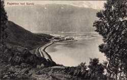 Postcard Fagernes Norwegen, Narvik, Blick auf den Ort, Berge, Gewässer