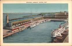 Postcard Montreal Québec Kanada, Central Part of Harbour, Hafenpartie, Dampfschiff