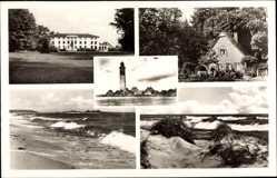 Postcard Behrensdorf Ostsee, Gastwirtschaft Erich Schröder, Leuchtturm, Meer