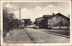 Postcard Barmissen Schleswig Holstein, Straßenpartie mit Blick auf Gasthaus Vohs