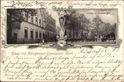Postcard Wesel am Niederrhein, Königliches Gymnasium, Turnplatz, Schüler