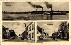 Postcard Dormagen Niederrhein, Rheinpartie, Kölnerstraße, Salondampfer, Autos
