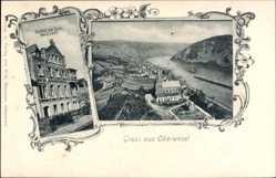Postcard Oberwesel im Rhein Hunsrück Kreis, Gasthaus zur Rose, C. Leitz, Kirche, Fluss
