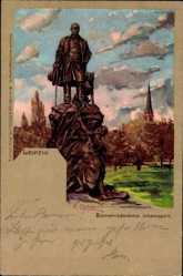 Künstler Litho Carloforti, Leipzig, Blick auf das Bismarck Denkmal, Johannapark