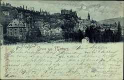 Mondschein Ak Marburg, Stadtpanorama, Burg, Wald, Gebäude, Straßen
