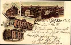 Litho Varel am Jadebusen, Stadtpanorama, Rathaus, Landwirtschaftsschule