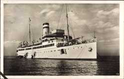 Postcard Seebäderdampfer Cobra vor Helgoland, Vor Anker, Ausbooten