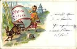 Litho China, Glückwunsch Ostern, Osterhase, Osterei, Chinese