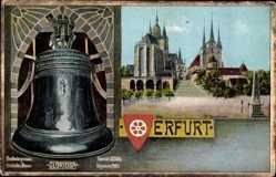 Ak Erfurt, Dom, Glocke Gloriosa gegossen 1497, St Severi Kirche, Wappen
