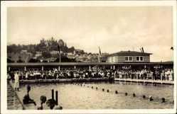 Postcard Marburg, Schwimmbad, Wettbewerb, Besucher, Tribüne, Schwimmer