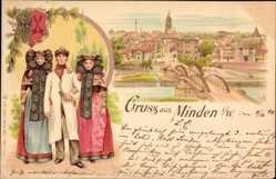 Litho Minden in Ostwestfalen Lippe, Trachten, Wappen, Stadtpanorama