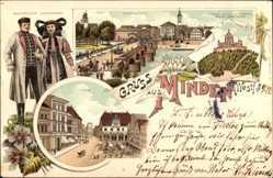 Litho Minden Ostwestfalen Lippe, Trachten, Weserbrücke, Kaiser Wilhelm Denkmal