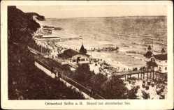 Postcard Ostseebad Sellin auf Rügen, Blick auf den Strand bei stürmischer See