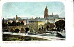 Postcard Frankfurt am Main, Stadtpanorama, Blick auf die alte Brücke, Glockenturm