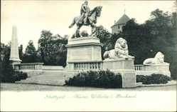 Postcard Stuttgart, Blick auf das Kaiser Wilhelm Denkmal, zu Pferd, Parkanlage