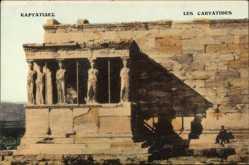 Postcard Athen Griechenland, Les Caryatides, Antike Tempelmauern, Säulen