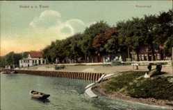 Postcard Brake an der Unterweser, Partie am Weserstrand, Kutsche, Ruderboot