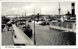 Postcard Holtenau Kiel in Schleswig Holstein, Partie an der Schleuse, Dampfschiffe